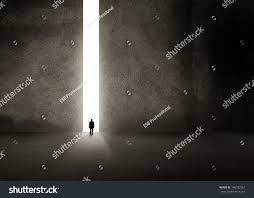 Keyhole Doorway Silhouette Businessman Entering Giant Doorway Stock Photo