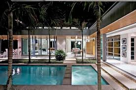 modern courtyard wtih pool house plans home design inspiration