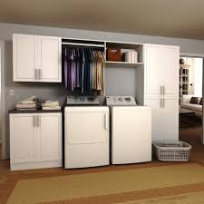 Laundry Room Cabinets With Hanging Rod Modifi 120 In W White Hanging Rod Laundry Cabinet Kit