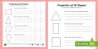 6 properties of 2d shapes activity worksheets shapes