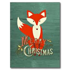 green fox merry christmas card post cards christmascards zazzle