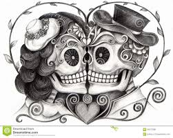 skull wedding day of the dead stock illustration