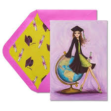 papyrus globe graduation card with glitter target