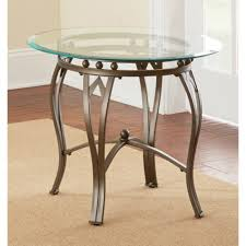 amazon com greyson living maison glass top round end table