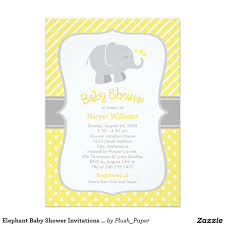 Invitation Card Baby Shower Elephant Baby Shower Invitations Yellow And Gray 5