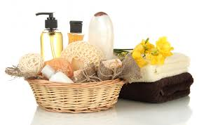 bathroom basket ideas toiletries lotion towels cloth linens spa in basket for