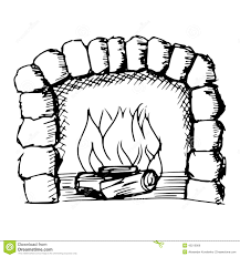 fireplace in forest illustration royalty free stock photography
