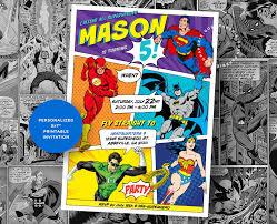 Superhero Invitation Card Superhero Invitation Justice League Party Superheroes