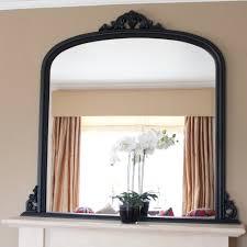 matt black beaded overmantle mirror