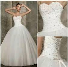 Ivory Wedding Dresses New White Ivory Wedding Dress Ball Prom Bridal Gown Size 6 18 Uk