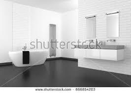Bathroom White Brick Tiles - modern bathroom white brick wall dark stock illustration 666854221