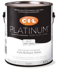 cil platinum 100 acrylic exterior pre tinted white 3 78 l
