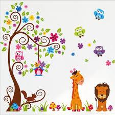 vinilos decorativos infantiles animales y arboles 260401 sticker gr dina colorat cu animale baby and me webshop