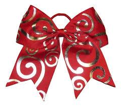 christmas ribbon bows new silver swirl cheer bow pony 3 ribbon hair
