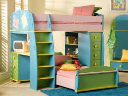 kids bunk beds with desk grat tile floor bean bag chair pink