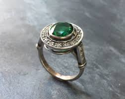 vintage emerald engagement rings antique emerald ring etsy