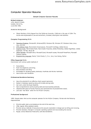 computer operator resume format it cover letter sample linux