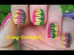 marble nails without water in pink green u0026 yellow toothpick