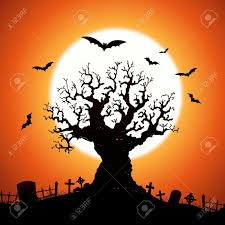 illustration of a halloween frightening wicked tree with evil