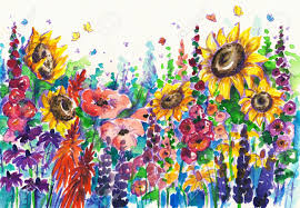 summer flowers in garden picture created with watercolors stock