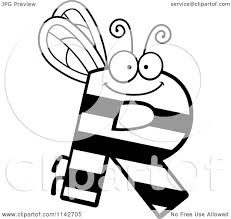 cartoon clipart of a black and white letter r bug vector