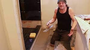 12 x 24 porcelain bathroom floor tile installation by prestige