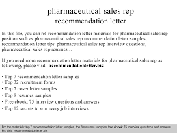 pharmaceutical sales rep recommendation letter