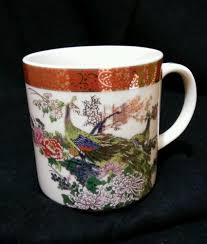 vintage satsuma heritage mint peacock floral coffee tea cup mug