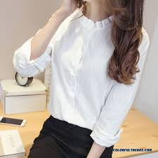 s blouses on sale cheap 2016 all match white standing collar shirts