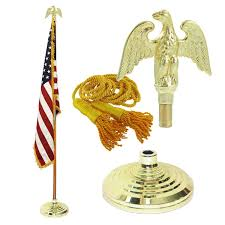 American Flag With Yellow Fringe Amazon Com Indoor American Flag Flagpole Base And Tassel Home