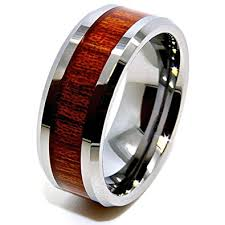wood inlay wedding band unisex 8mm wood grain inlay tungsten wedding band engagement ring