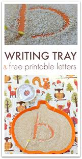 fall sensory writing tray with free printable letter cards no