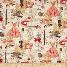 timeless treasures vintage sewing red from fabricdotcom designed