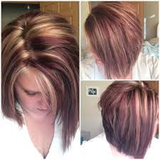 red and blonde highlights on angled bob hair pinterest