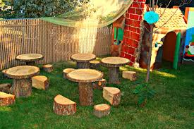 enchanted forest birthday party tree stump table stump table