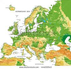 algeria physical map europe physical map stock vector 444220543