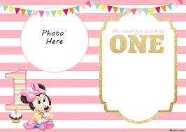 Free Printable Minnie Mouse Invitation Template by Free Printable Minnie Mouse 1st Invitation Templates Drevio