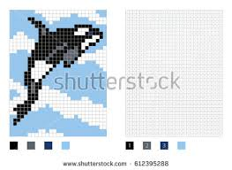 coloring page killer whale pixel killer whale cartoon coloring page stock vector hd royalty