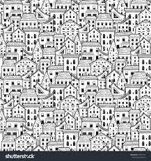 light black white seamless pattern houses stock vector 472011661