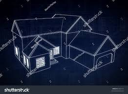 House Schematics by 3d Blue Print Style Rendered House Stock Photo 3583116 Shutterstock
