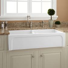 decorating white rectangle porcelain apron sink on cream kitchen