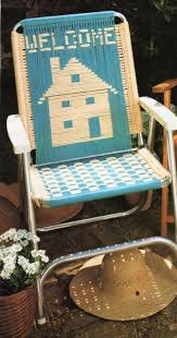 Vintage Outdoor Folding Chairs Vintage Macrame Cording Lawn Chair Folding Chair Pattern 1970s