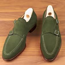 handmade mens hunter green suede monk shoes mens formal shoes