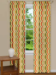 trendy window panel with twist design in yellow red and