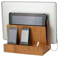 charging shelf station bamboo multi charging station cable management tiny houses