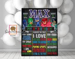 pj masks birthday chalkboard u2013 rawsome designs