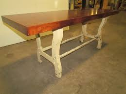 butcher block dining table with white cast iron legs decofurnish