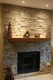 stacked stone fireplace to create western interior and exterior