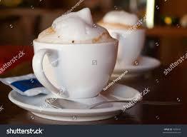Cappuccino Cups Two Cappuccino Cups Milk Foam Cinnamon Stock Photo 1906610