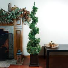 Pre Lit Topiary 5 U0027 Pre Lit Helix Spiral Potted Artificial Topiary Tree Clear